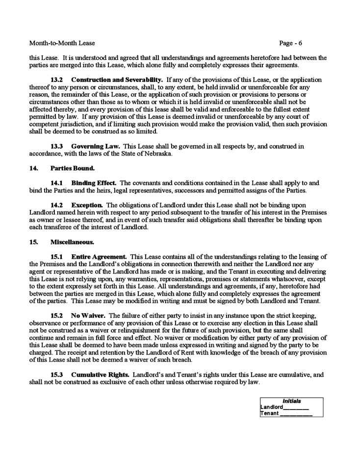 Nebraska Month To Month Lease Agreement Free Download