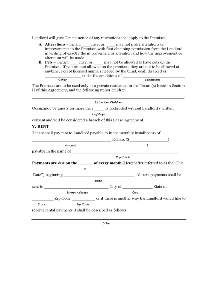 Mississippi Monthly Lease Agreement Free Download