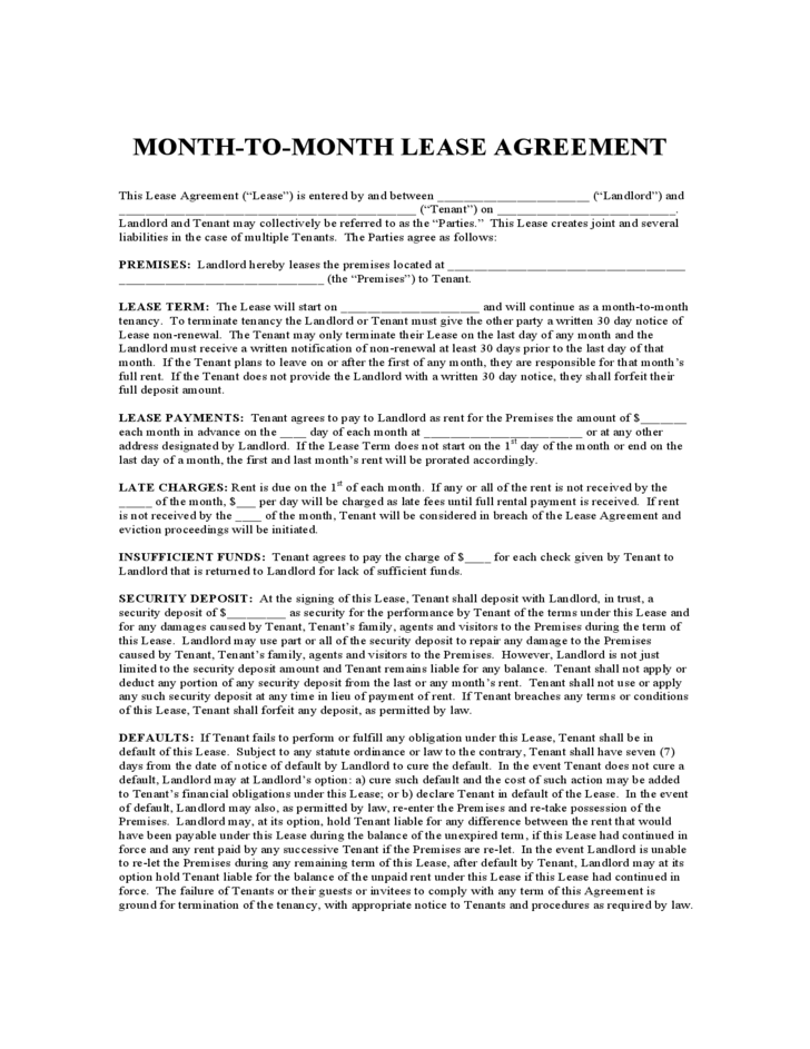 Illinois Monthly Lease Agreement