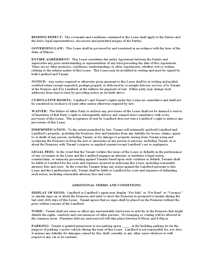 Illinois Monthly Lease Agreement Free Download