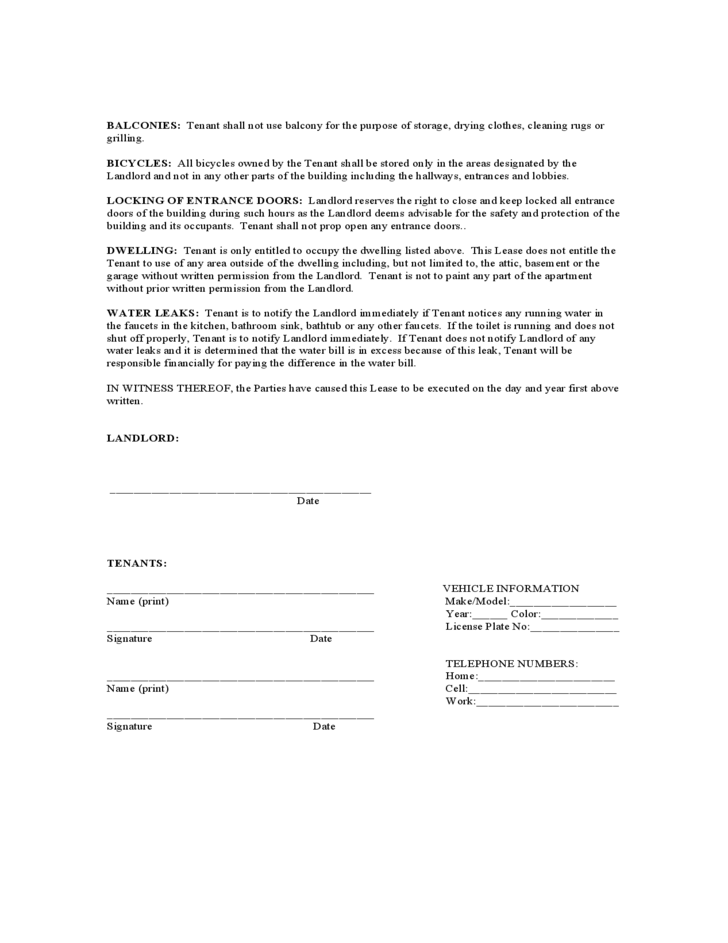 Texas Monthly Lease Agreement Form Free Download