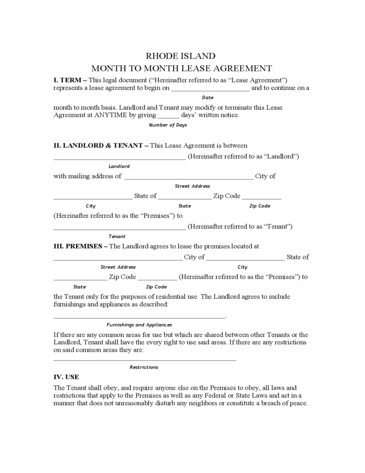 rhode island month to month lease agreement template free download. Black Bedroom Furniture Sets. Home Design Ideas
