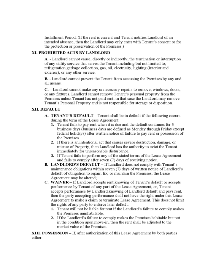 Rhode Island Month to Month Lease Agreement Template