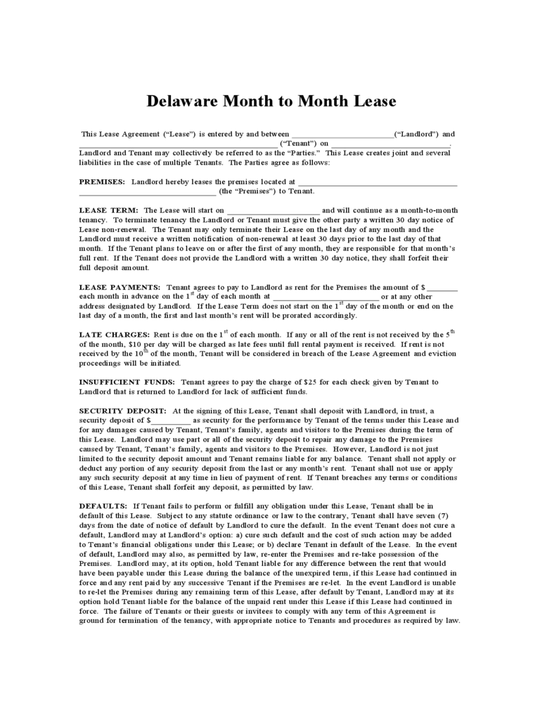 Delaware Rent And Lease Template Free Templates In Pdf Word