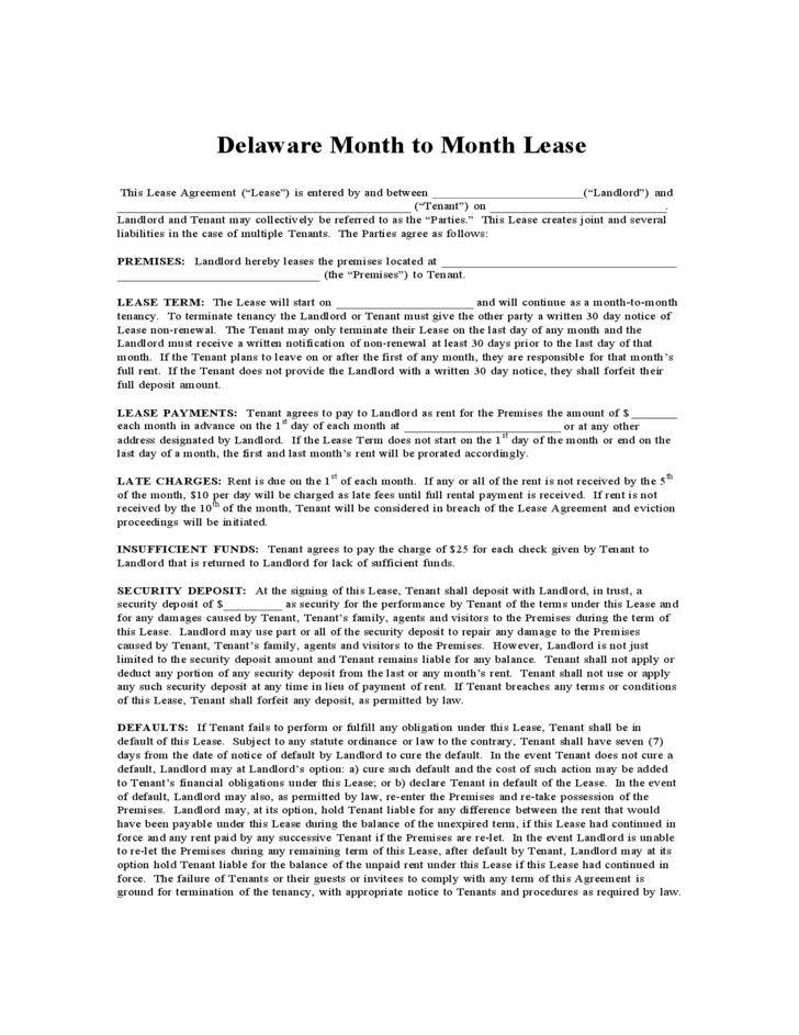 Delaware Month To Month Lease Agreement Free Download