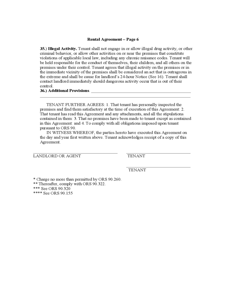Oregon Month To Month Rental Agreement Free Download
