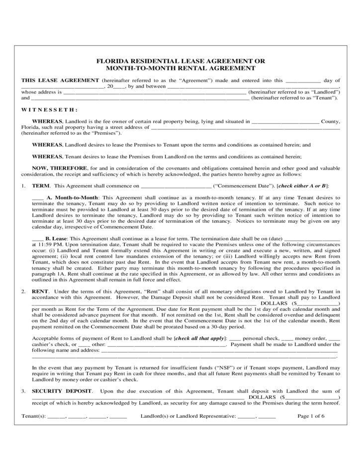 Florida Monthly Residential Rental And Lease Agreement