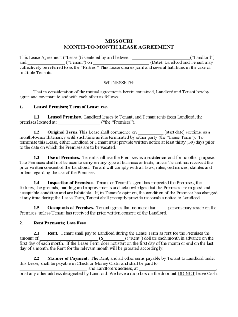 Missouri Rent And Lease Template Free Templates In PDF
