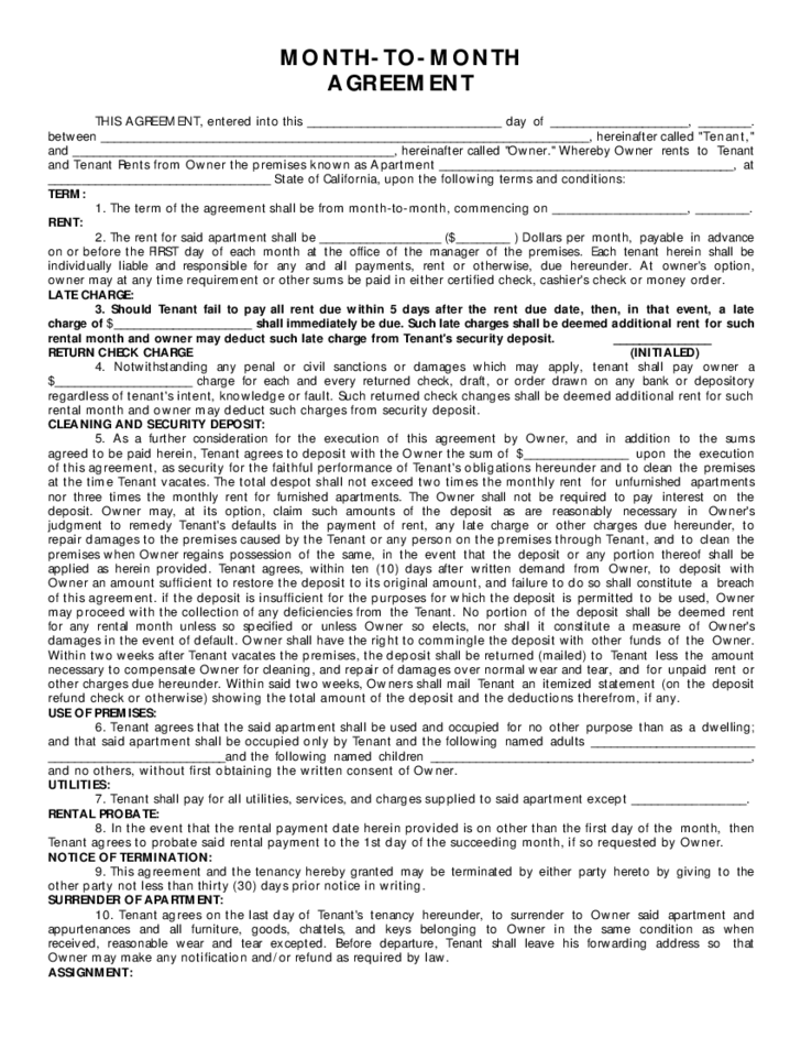 Month To Month Rental Agreement Sample Form Free Download
