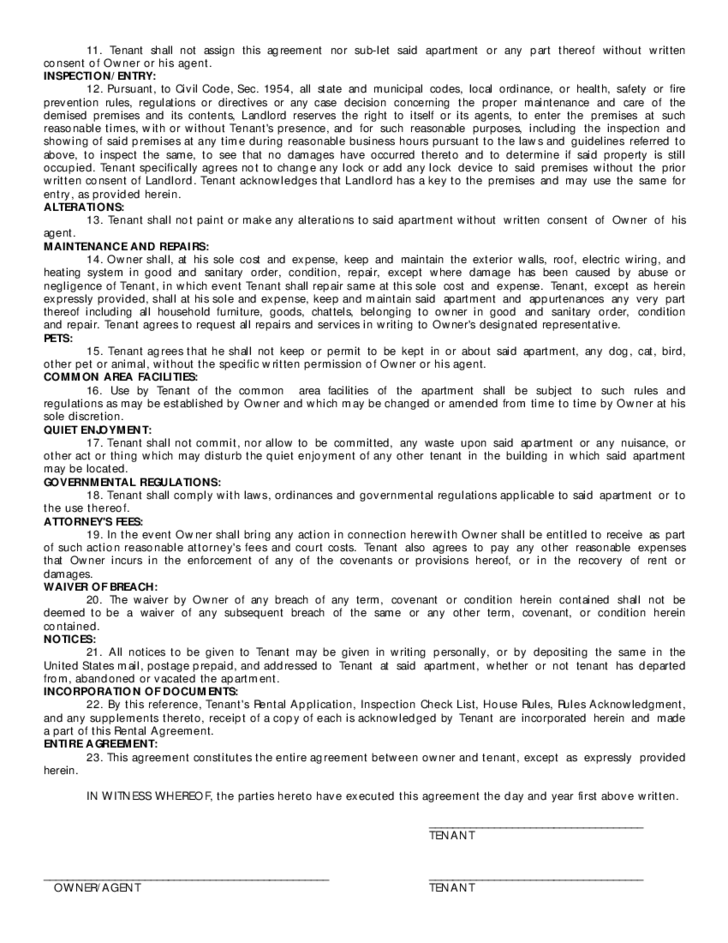 apartment rental agreement form