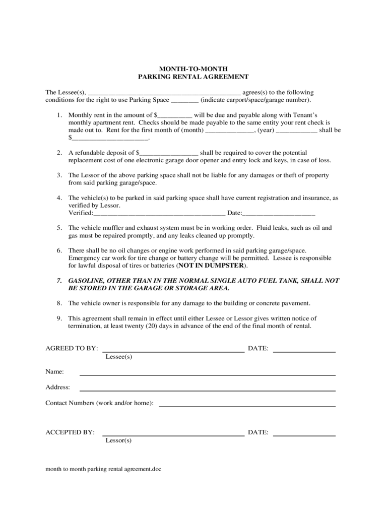 Month to Month Rental Agreement Form - 86 Free Templates in PDF ...