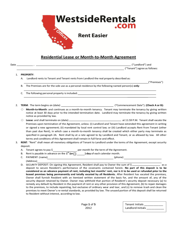 Residential Lease Or Month To Month Agreement California