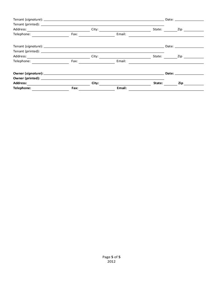 Residential Lease or Month-to-Month Agreement - California