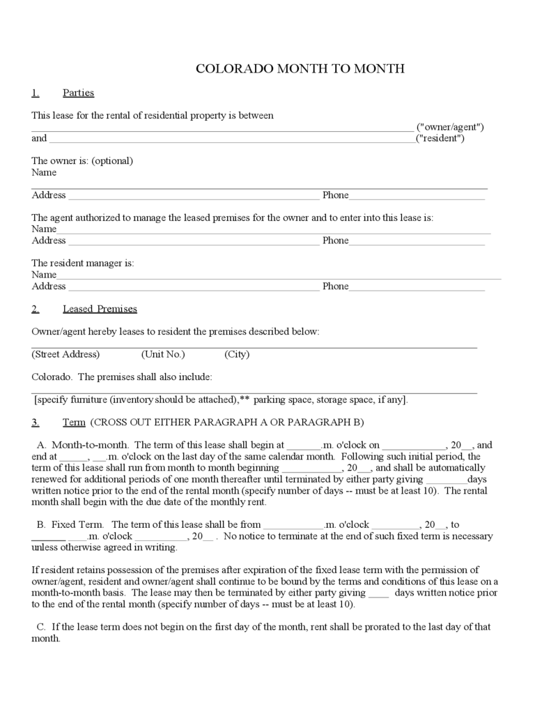 Month to Month Rental Agreement Form - Colorado