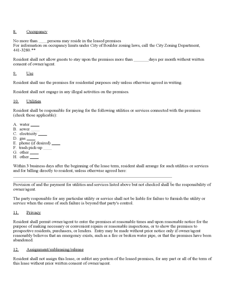 Month To Month Rental Agreement Form Colorado Free Download