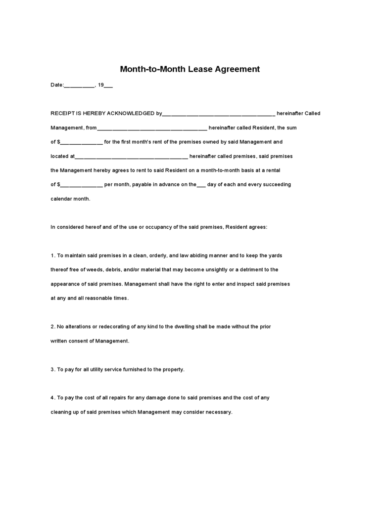 Month to Month Rental Agreement Form 86 Free Templates in PDF – Rental Agreement Forms Free Download