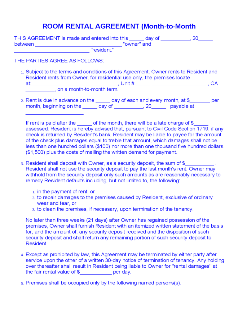 Room Rental Agreement (Month To Month)  Free Room Rental Lease Agreement Template