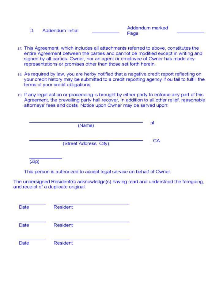 Room Rental Agreement Month To Month Free Download