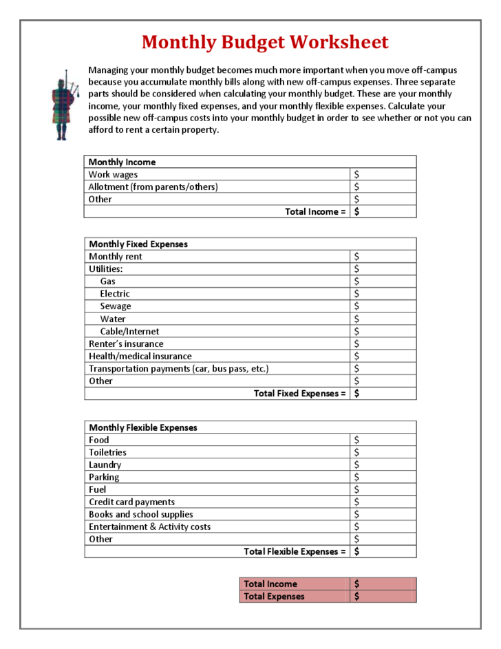 Monthly Budget Form Carnegie Mellon University Free Download