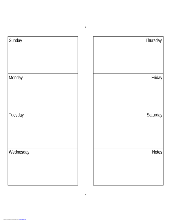 Weekly calendar sunday saturday free download for Sunday through saturday calendar template