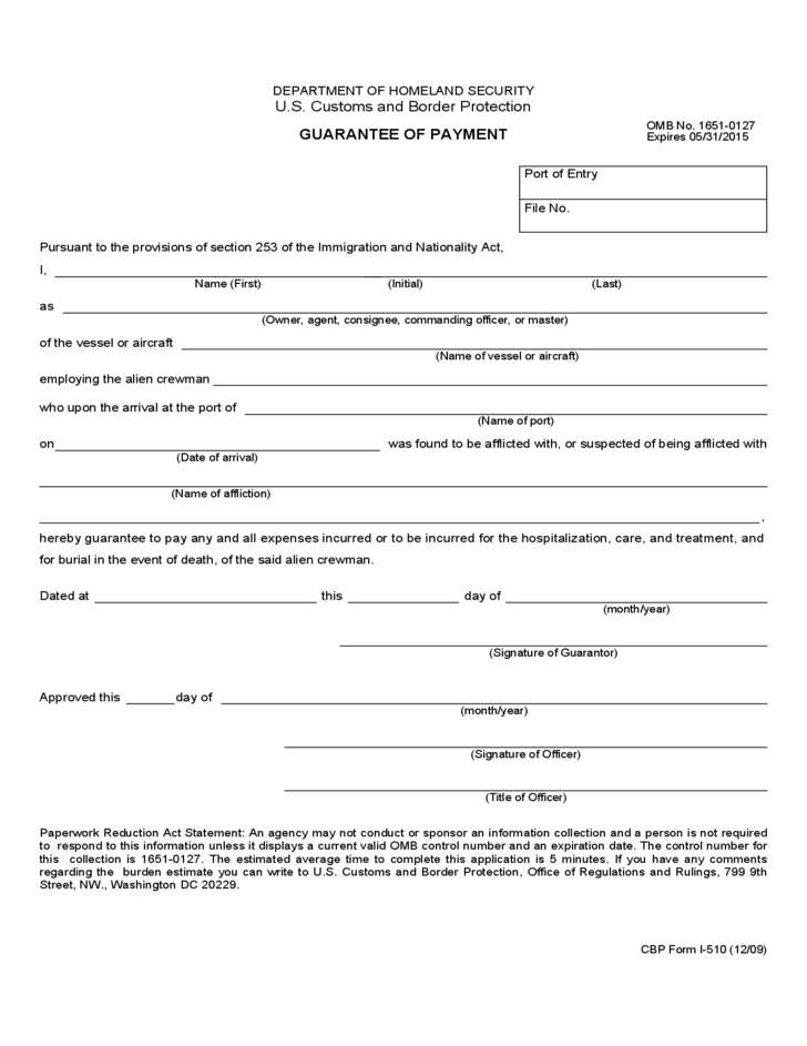 Cbp Form I 510 Guarantee Of Payment Free Download