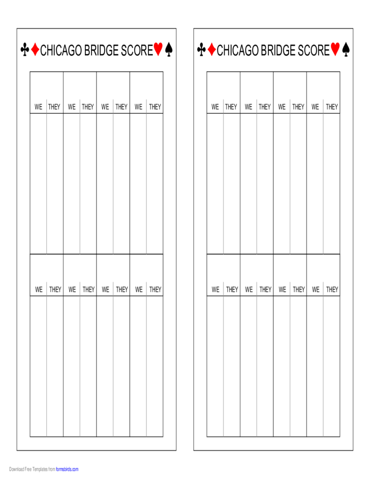 Chicago Bridge Scoresheet Free Download – Bridge Score Sheet
