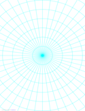 Polar Graph Paper with 7.5 Degree Angles and 1-Inch Radials on Letter-Sized Paper