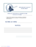 Preliminary Pageant Official Answers Score