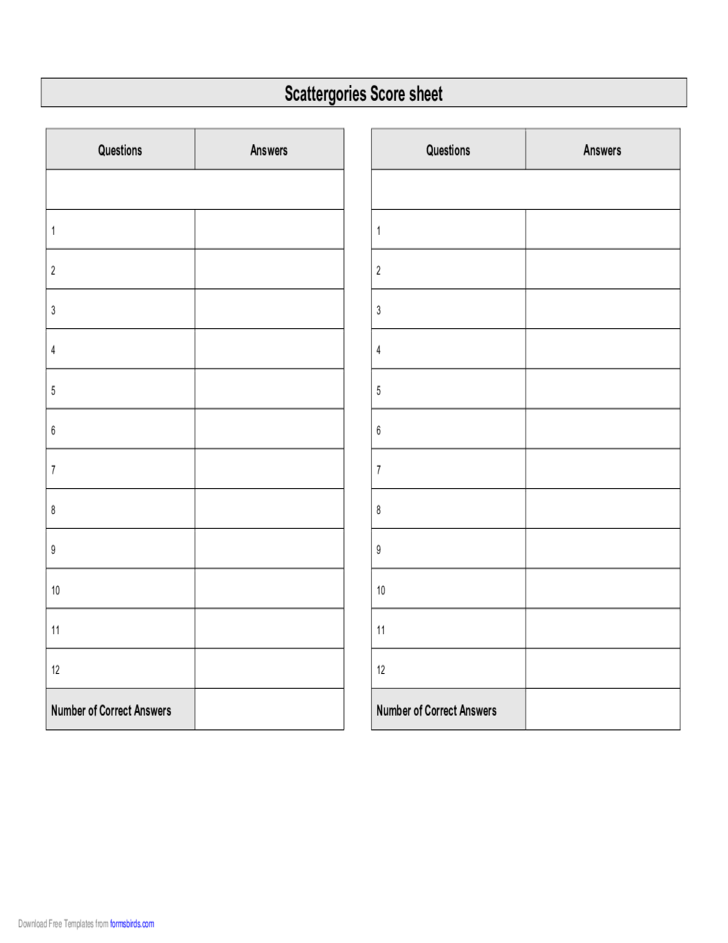 Scattergories Scoresheet Free Download
