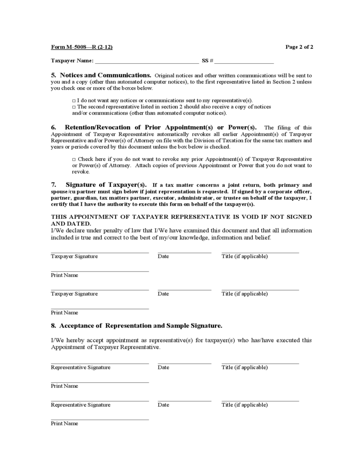 Form M-5008-R - Appointment of Taxpayer Representative - New ...