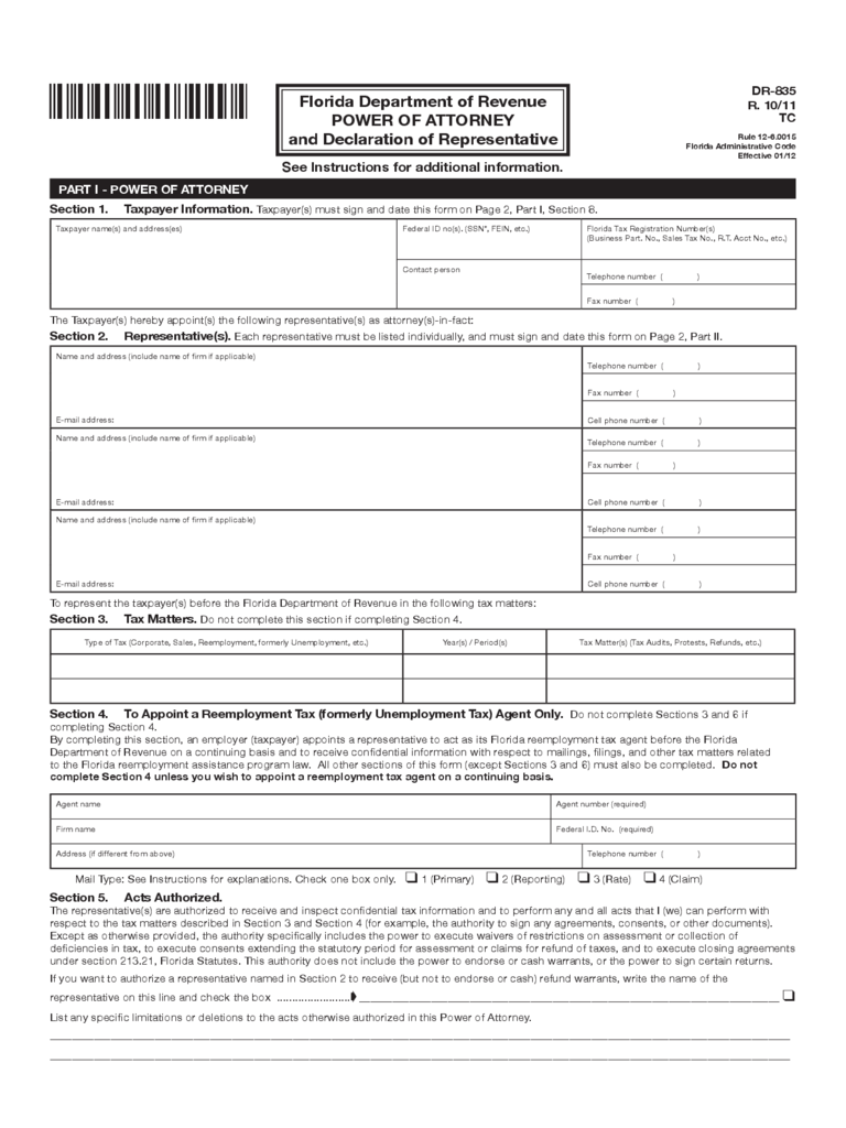 DR-835 - Power of Attorney and Declaration of Representative - Florida