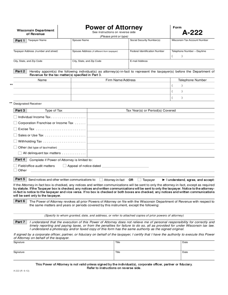 Form A 222 Power Of Attorney Wisconsin Departmentof