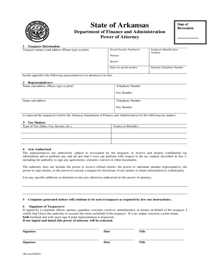 Power Of Attorney Arkansas Department Of Finance And