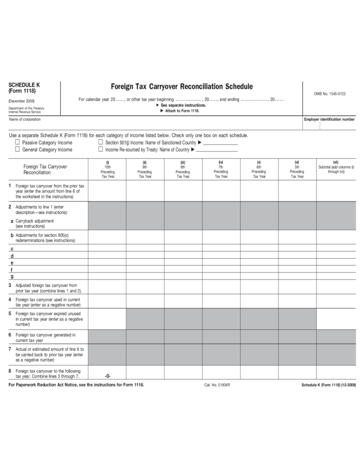 Form 1118 Schedule K Foreign Tax Carryover Reconciliation