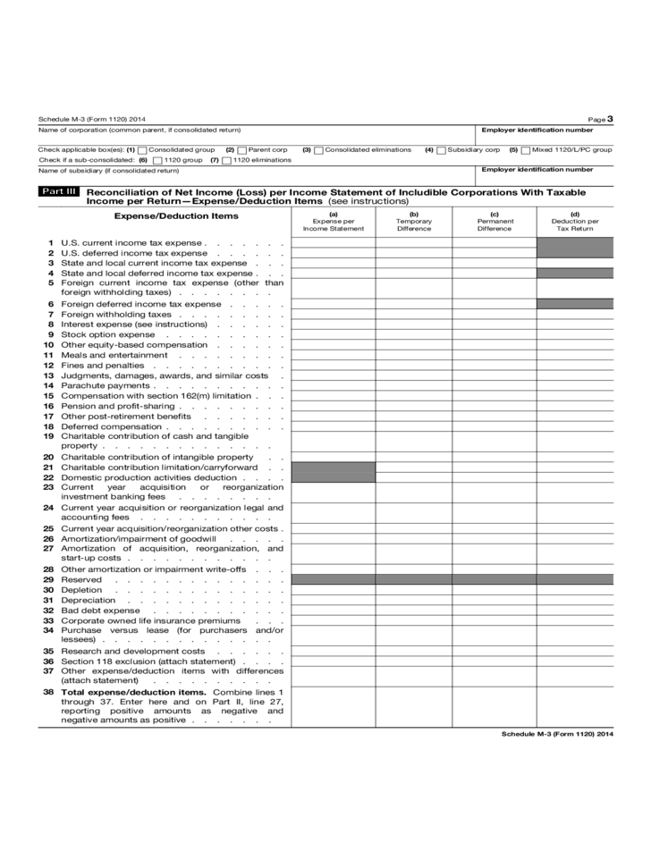 Form 1120 Schedule M 3 Net Income Reconciliation For
