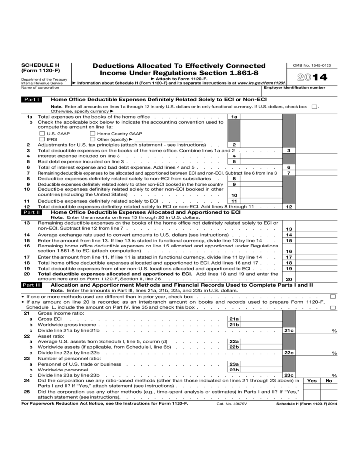 Form 1120 F Schedule H Deductions Allocated To Effectively