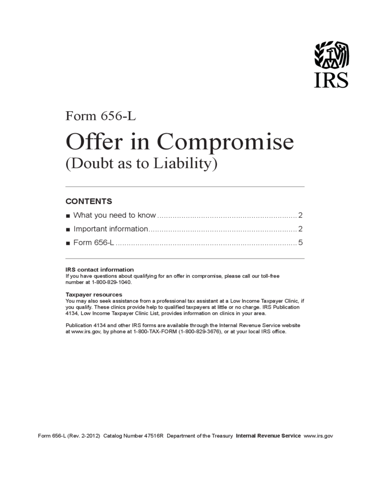Form 656 L Offer In Compromise Doubt As To Liability 2012 Free