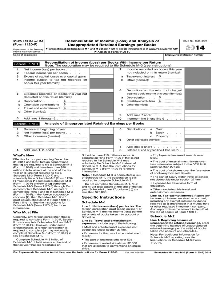 Form 1120-F Schedules M-1, M-2 - Reconciliation of Income and ...