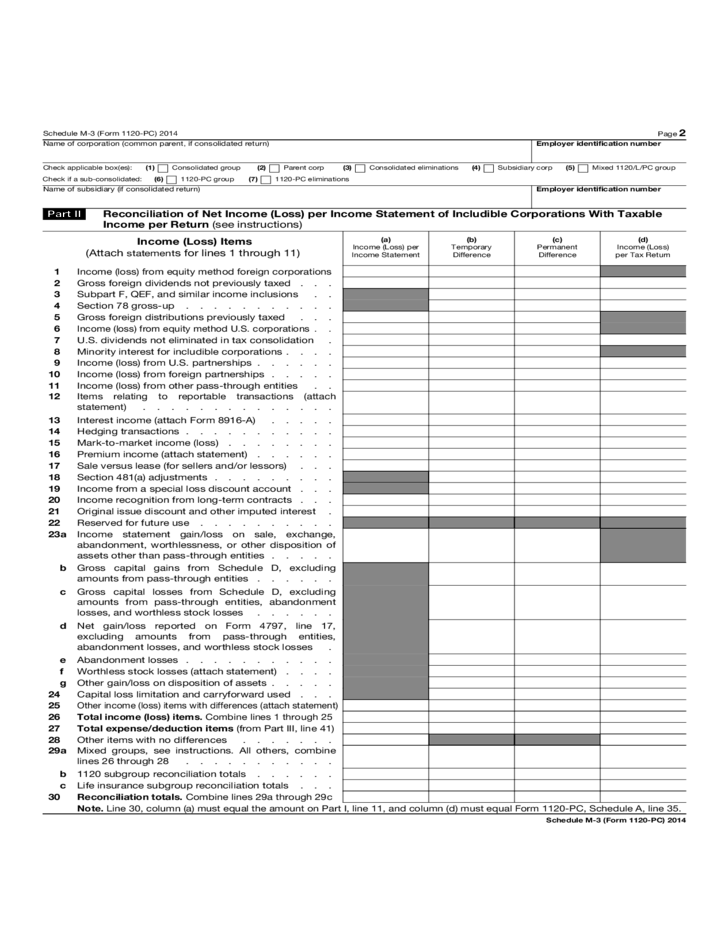 Form 1120 Pc Schedule M 3 Net Income Reconciliation For Us