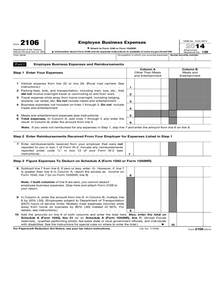 Form 2106 Employee Business Expenses 2014 Free Download