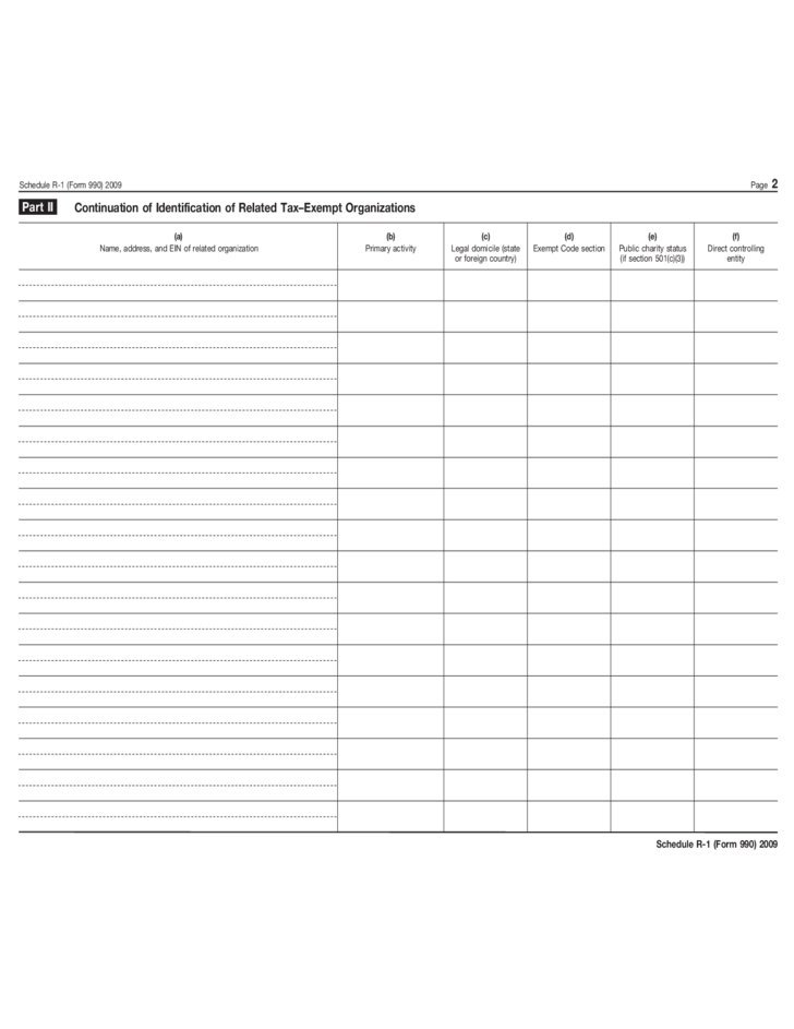 Form 990 Schedule R 1 Related Organizations And Unrelated