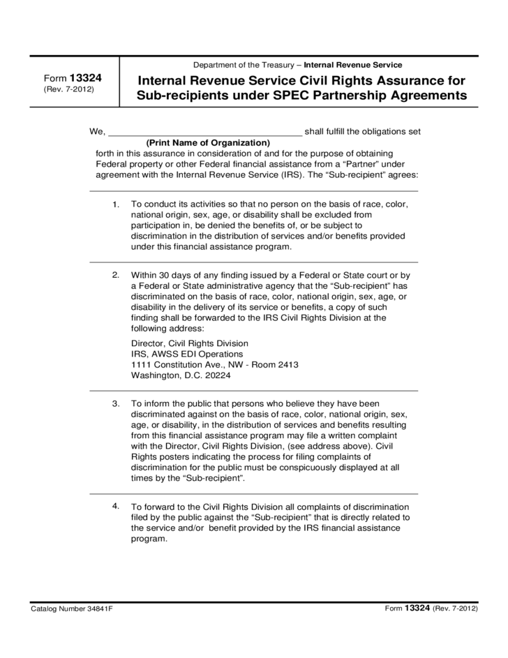 Form 13324 - IRS Civil Rights Assurance for Subrecipients under SPEC Partnership Agreements (2012)