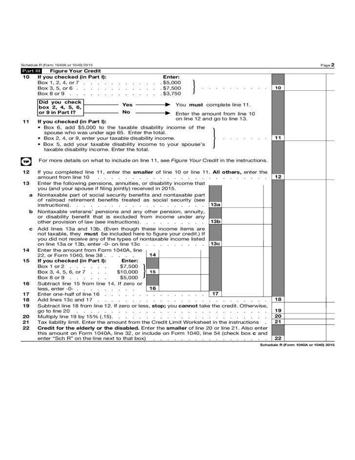 Form 1040 schedule r credit form for the elderly or for 1040a tax table 2015
