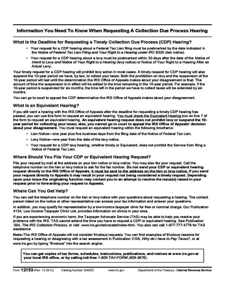 Form 12153 - Request for a Collection Due Process or Equivalent Hearing (2013)