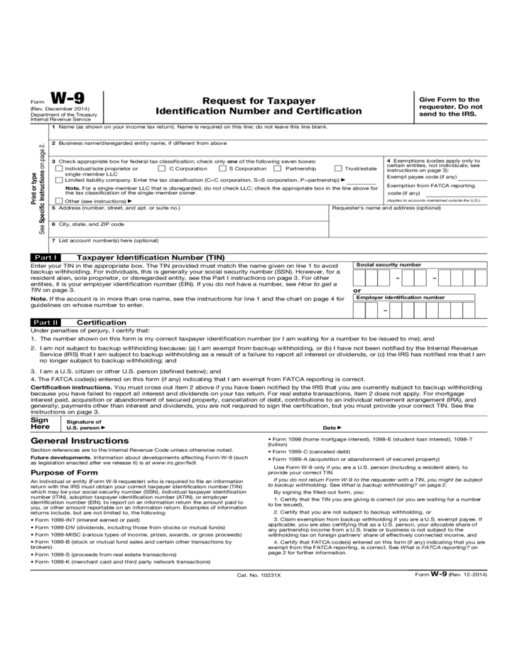 Form W-9 - Request for Taxpayer Identification Number and ...