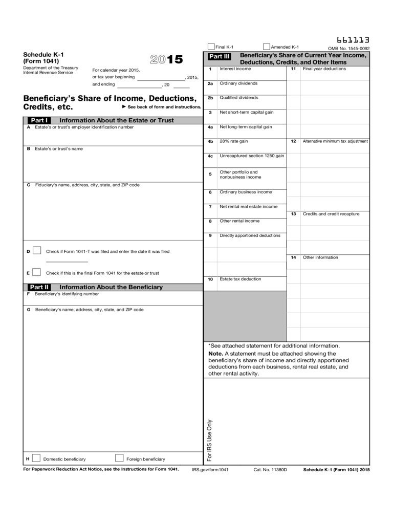 Form 1041 (Schedule K-1) - Beneficiary's Share of Income, Deductions, Credits, etc. (2015)