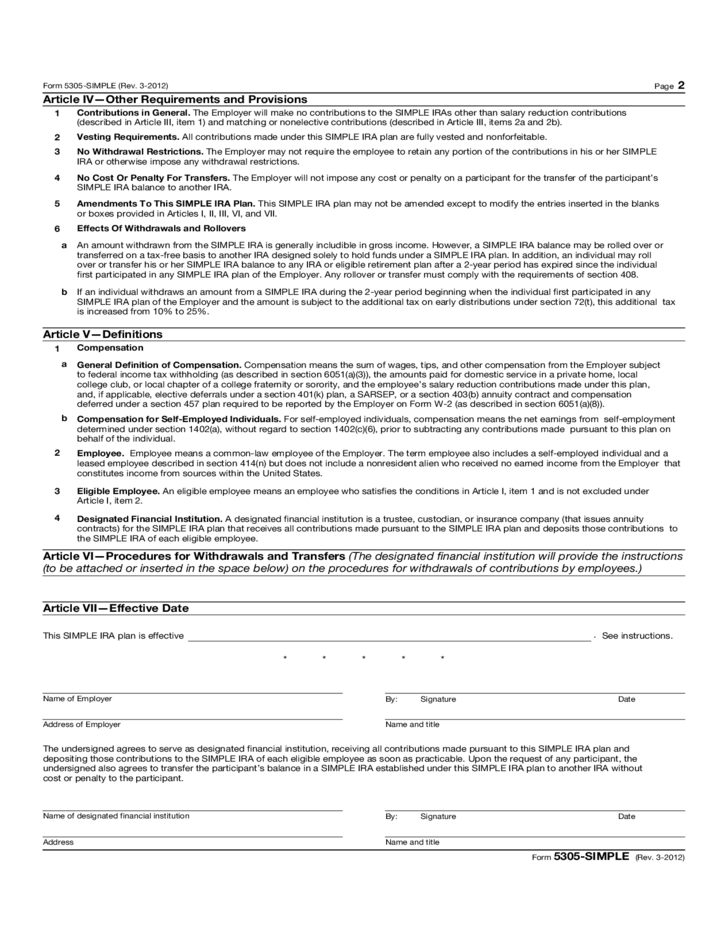 Form 5305-SIMPLE - Savings Incentive Match Plan for Employees of ...