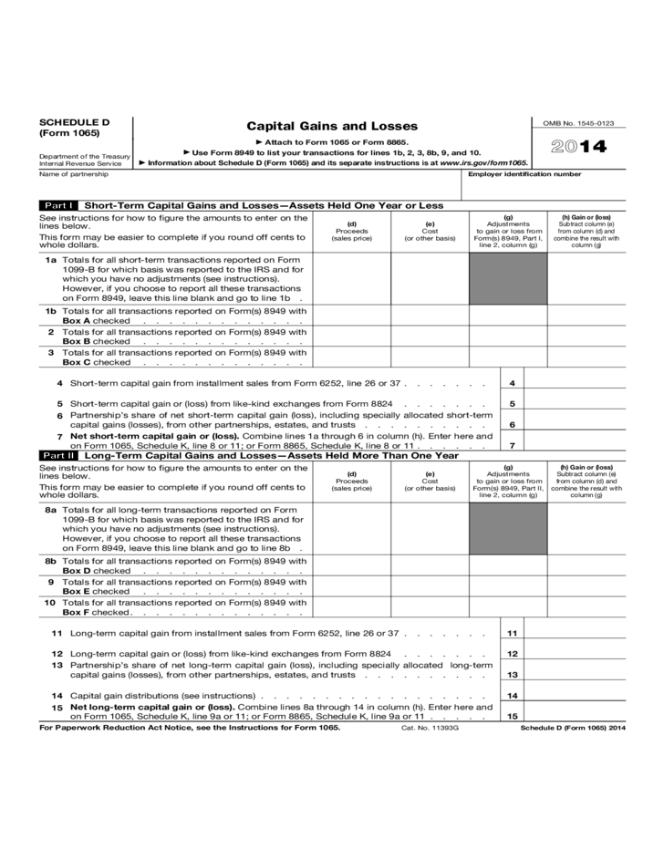 Form 1065 (Schedule D) - Capital Gains and Losses (2014) Free Download