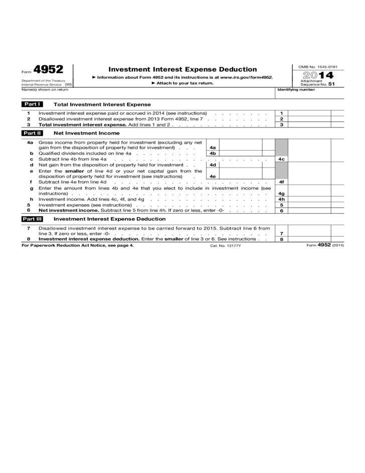 Form 4952 - Investment Interest Expense Deduction (2015)