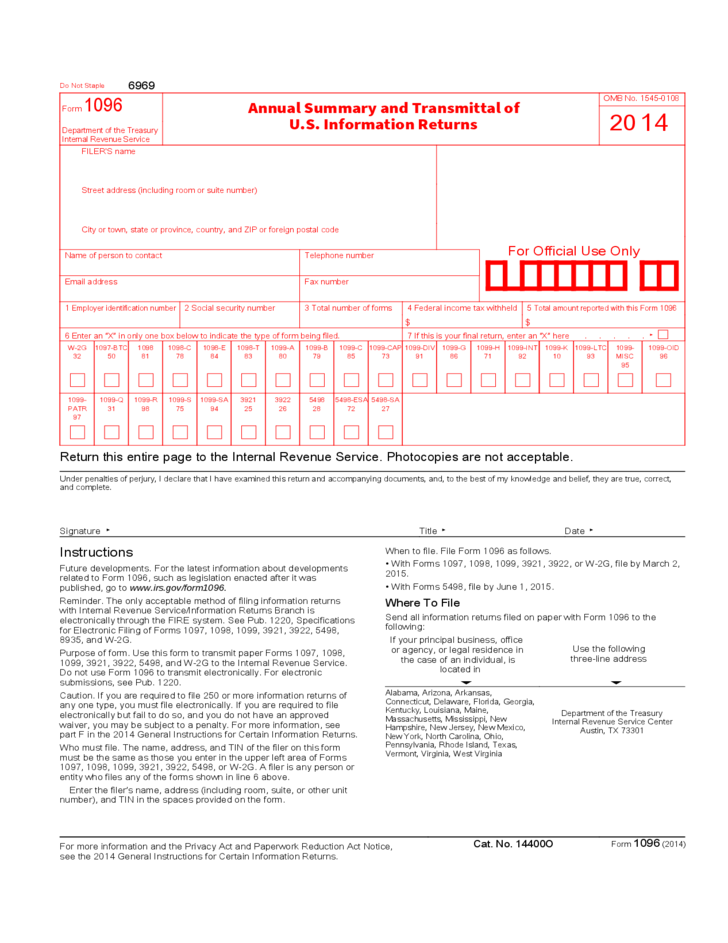 Form 1096 Annual Summary And Transmittal Of Us Information